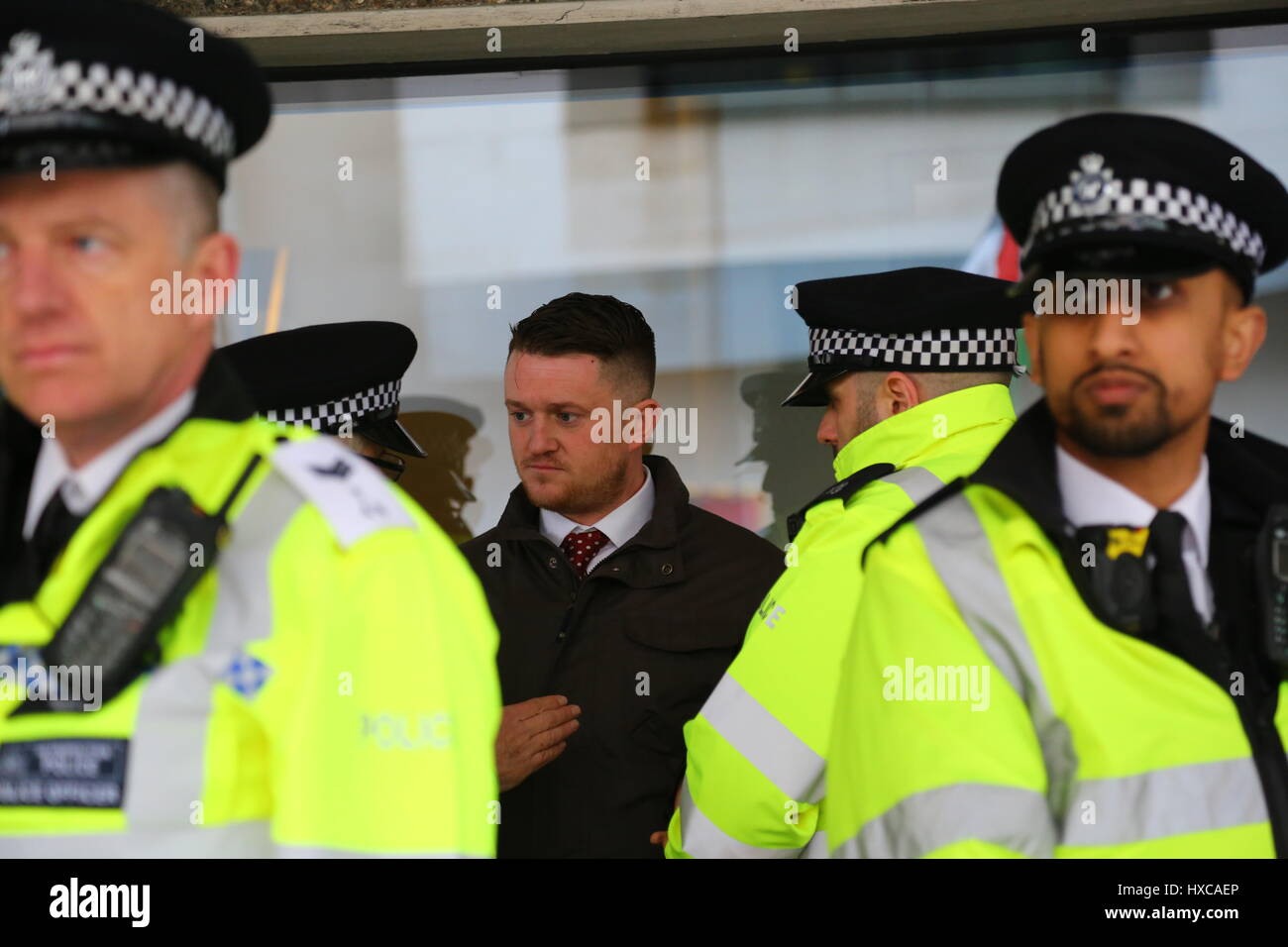 London, UK. 18th March, 2017. United Nations Anti-Racism march through London. Ex English Defence League leader - Stock Image