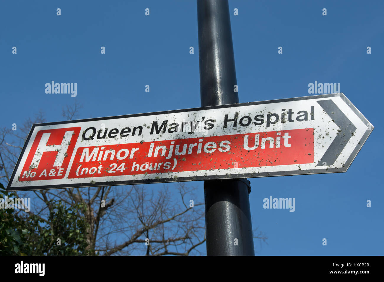 minor injuries unit sign outside queen mary's hospital, roehampton, southwest london, england - Stock Image