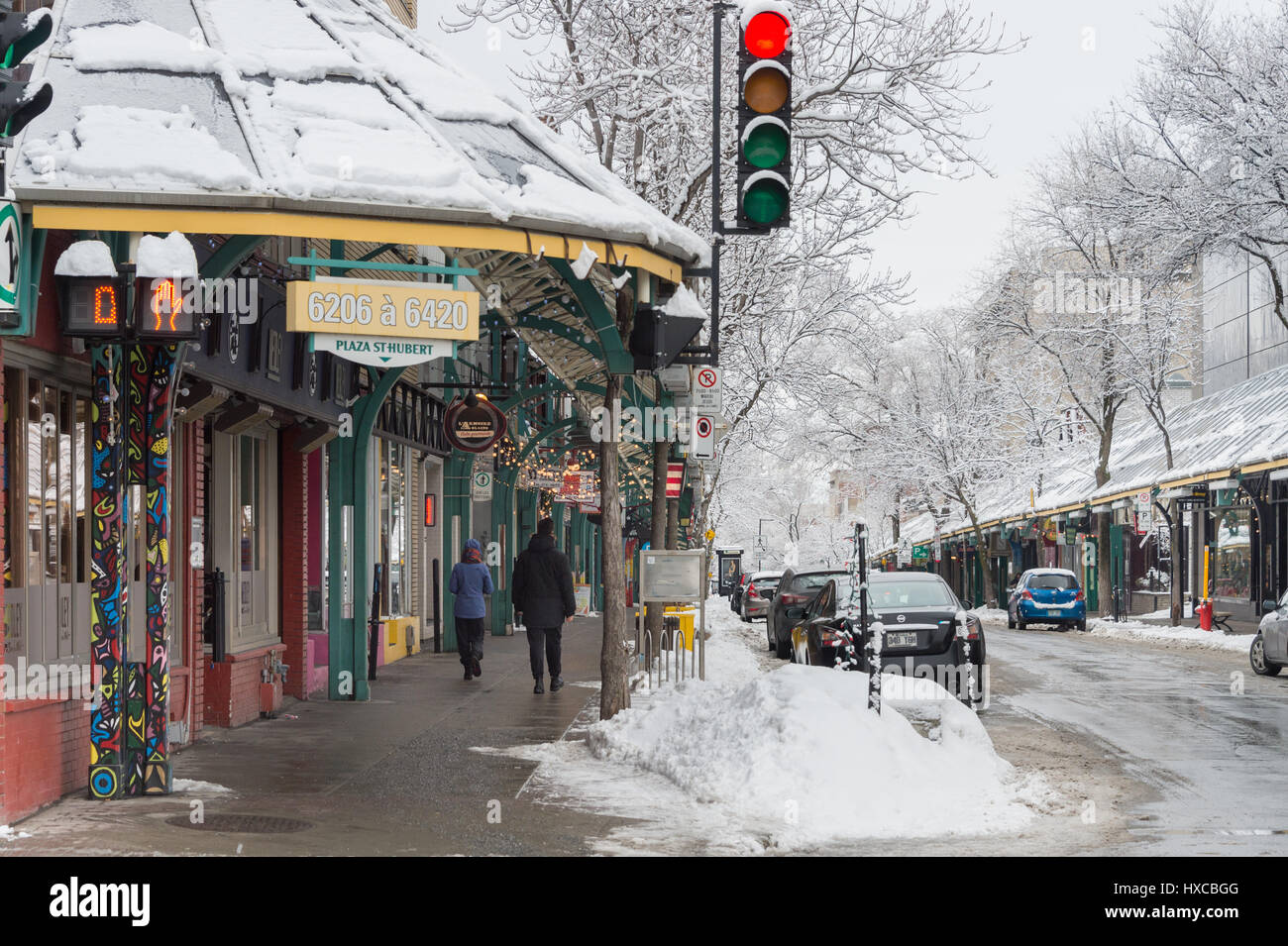 Montreal, Canada - 25 March 2017: Plaza St-Hubert after snowstorm - Stock Image