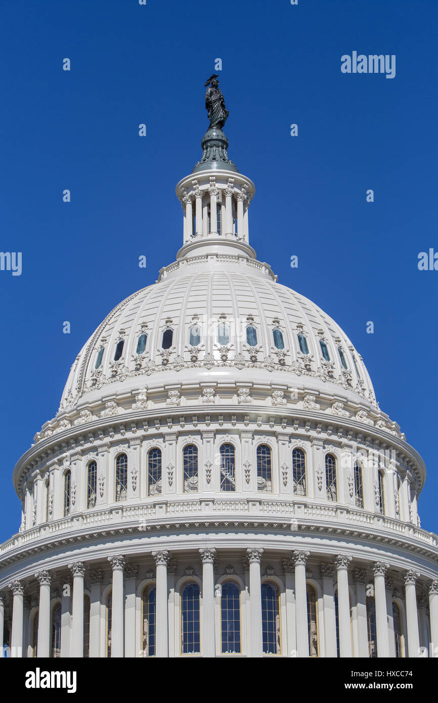 The dome of the U.S. Capitol Building in Washington, DC. - Stock Image