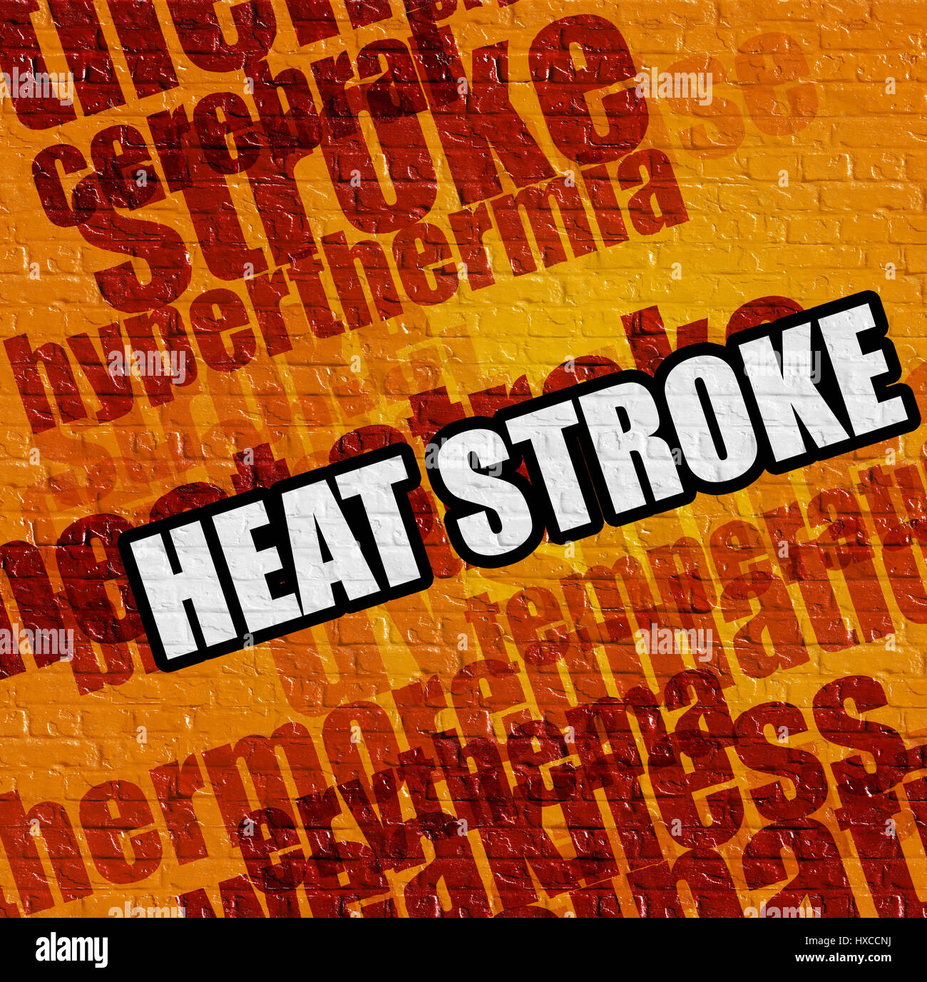 Modern medical concept: Heat Stroke on the Yellow Brick Wall . - Stock Image