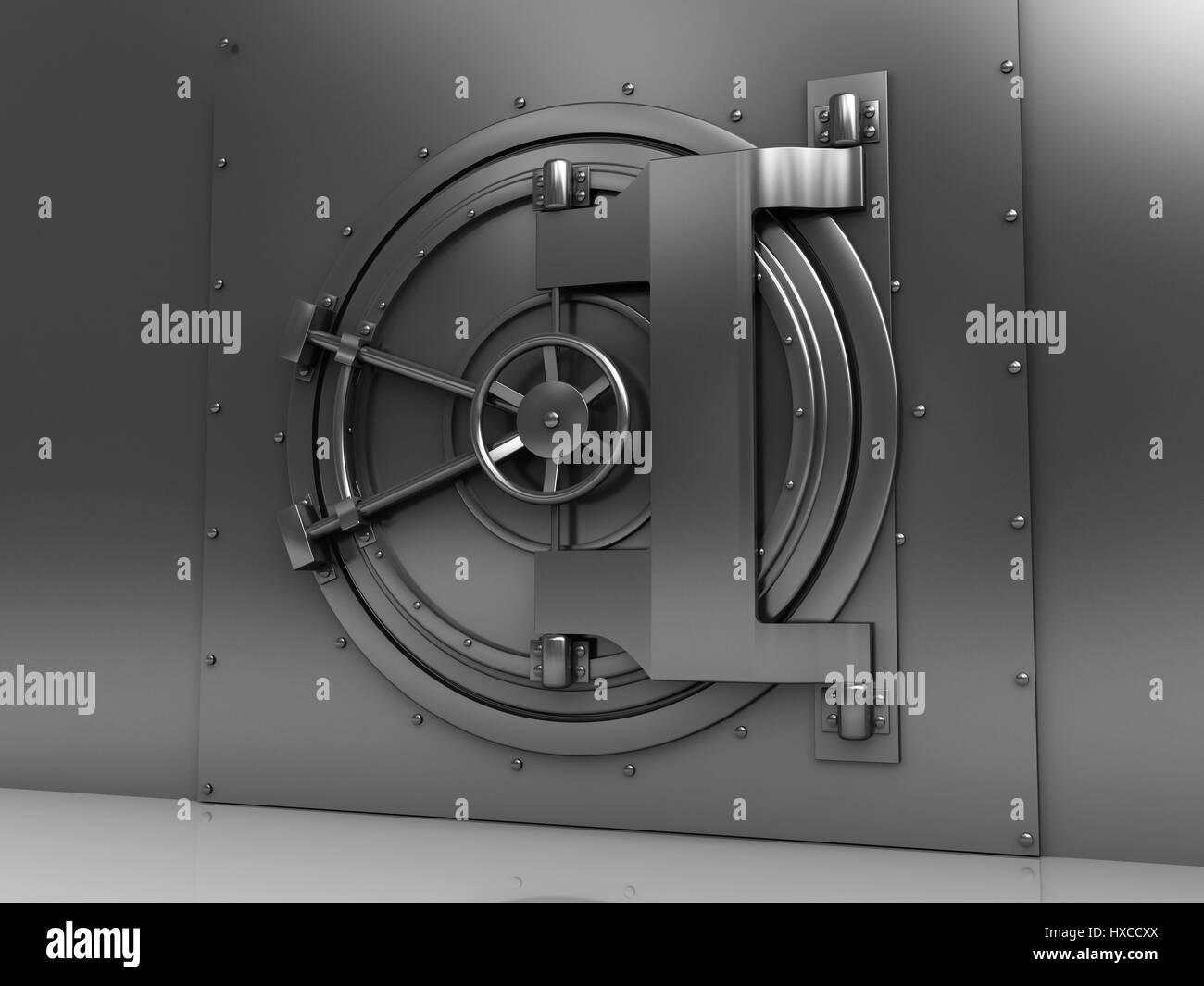 3d illustration of bank vault steel door - Stock Image