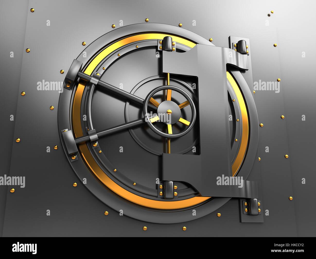 3d illustration of bank vault door, dark gray and golden colors - Stock Image