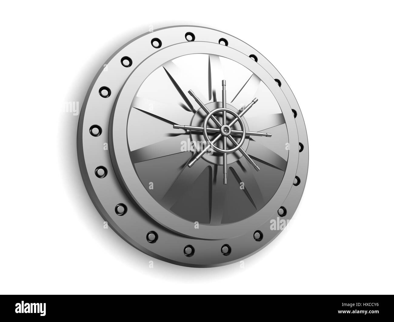 3d illustration of closed vault door over white background - Stock Image