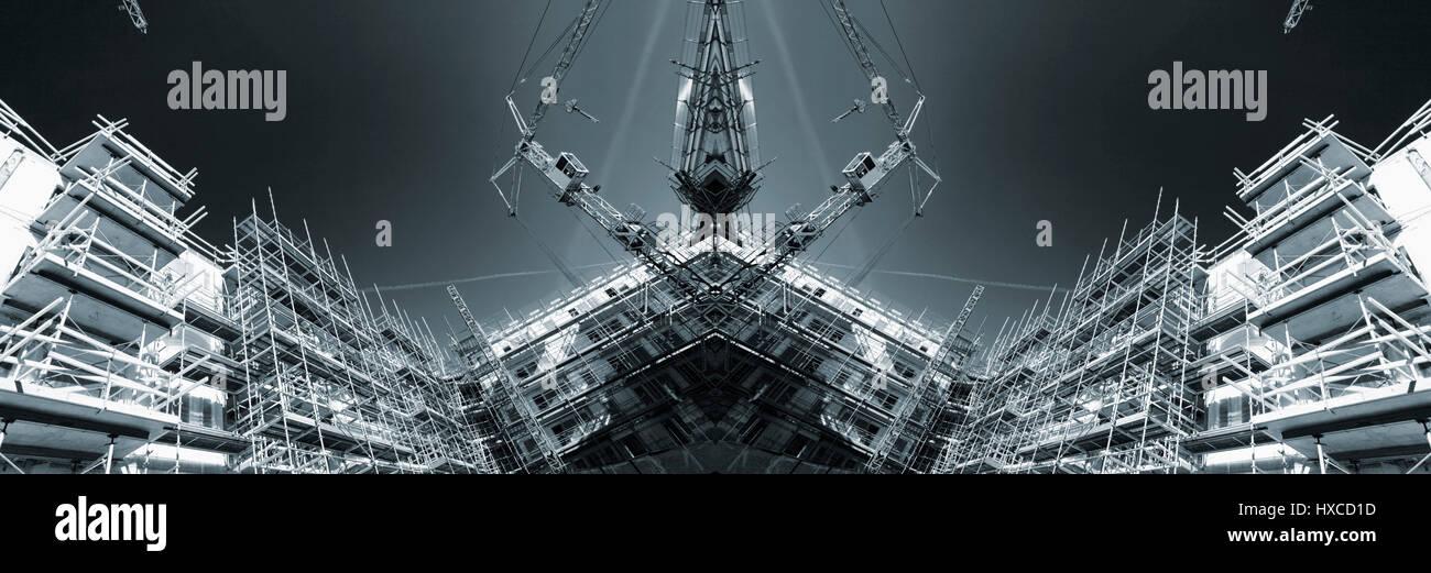construction industrial site, futuristic concept in selenium toning - Stock Image
