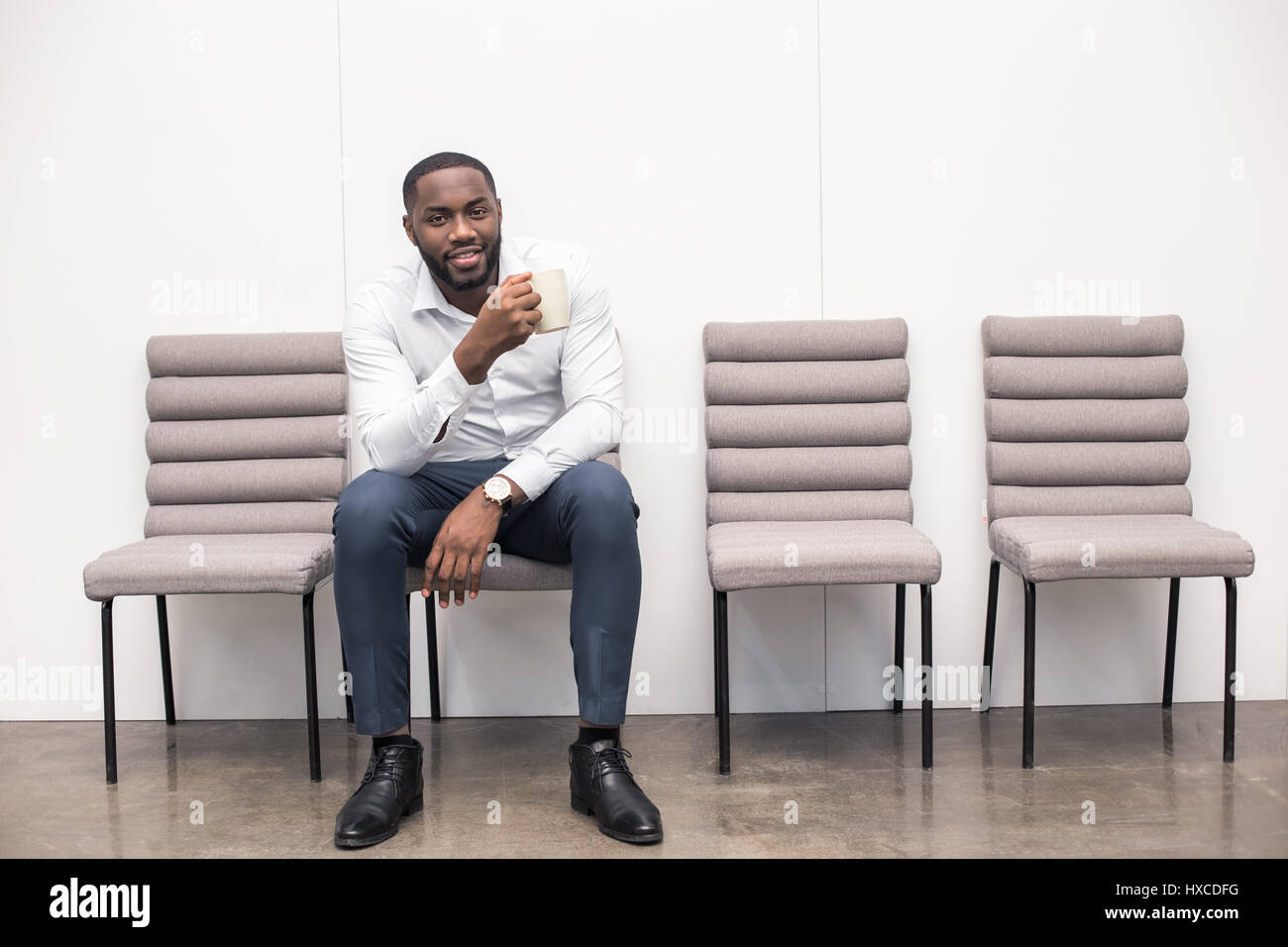 Man Waiting for Interview Job Application Concept - Stock Image
