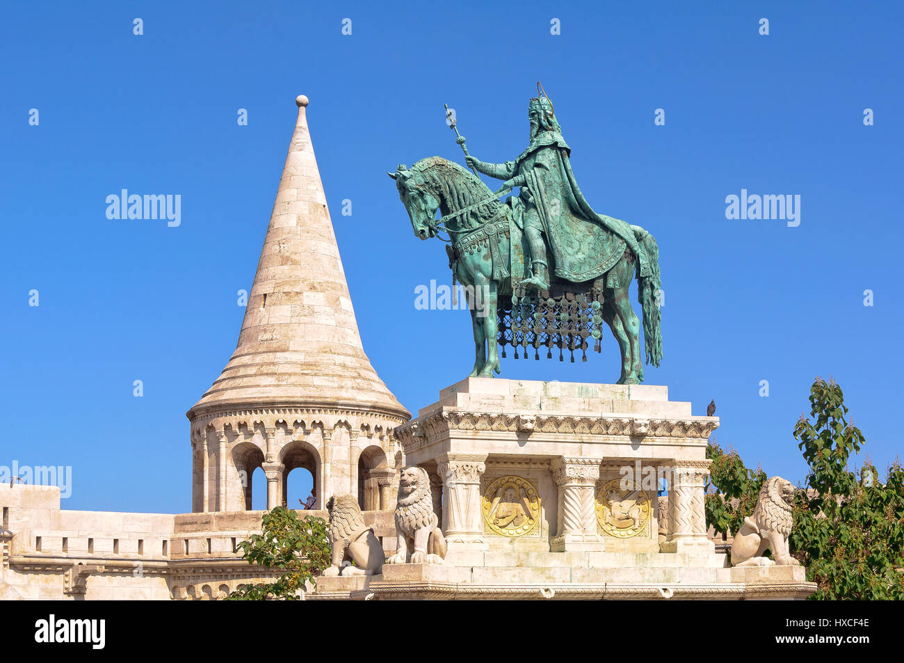 The bronze statue of St. Stephen on the Fisherman`s Bastion in Budapest, Hungary - Stock Image
