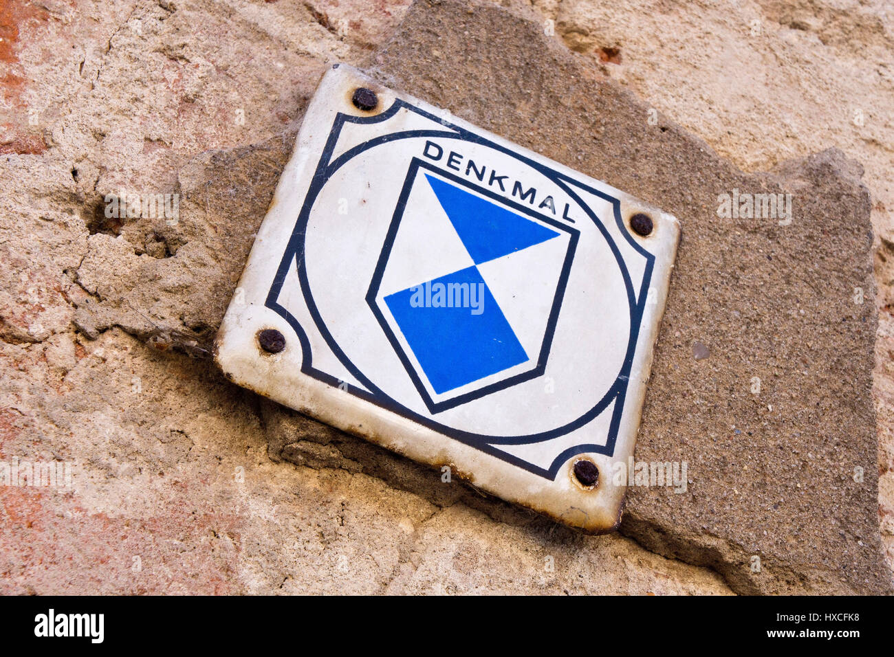 Monument sign in a house in Mecklenburg-West Pomerania, monument sign on a house in Mecklenburg-West Pomerania |, - Stock Image