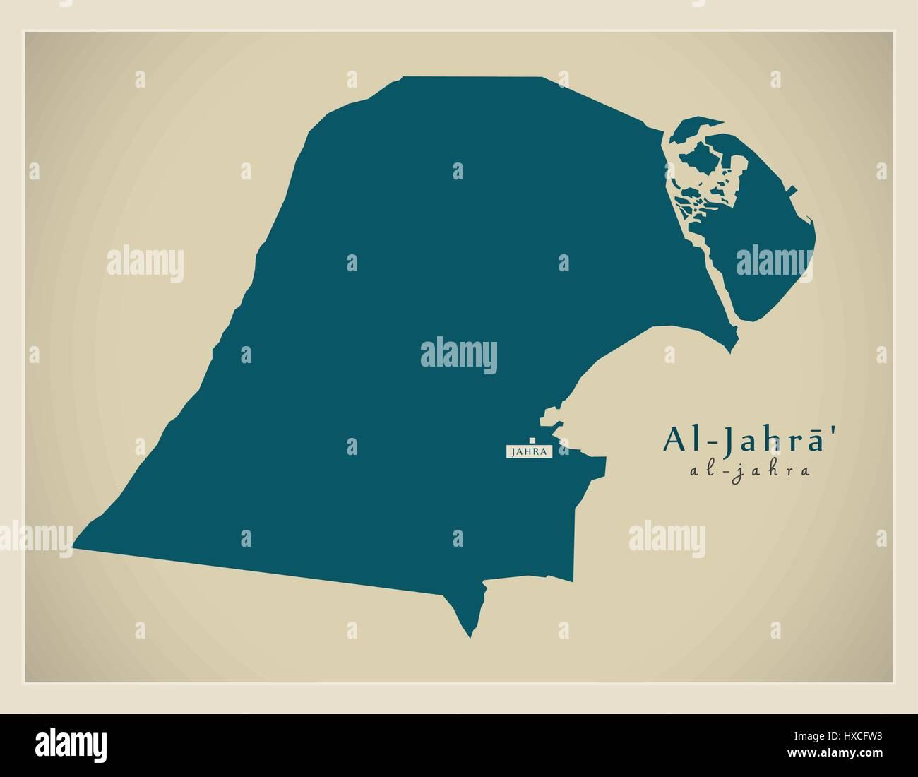 Modern Map AlJahra KW Stock Vector Art Illustration Vector