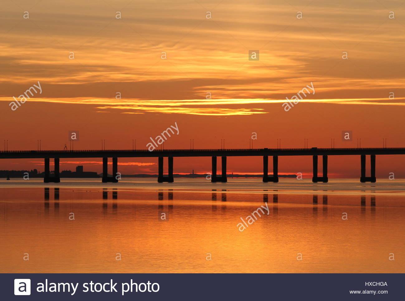Tay Road Bridge at dawn Dundee Scotland  March 2017 - Stock Image