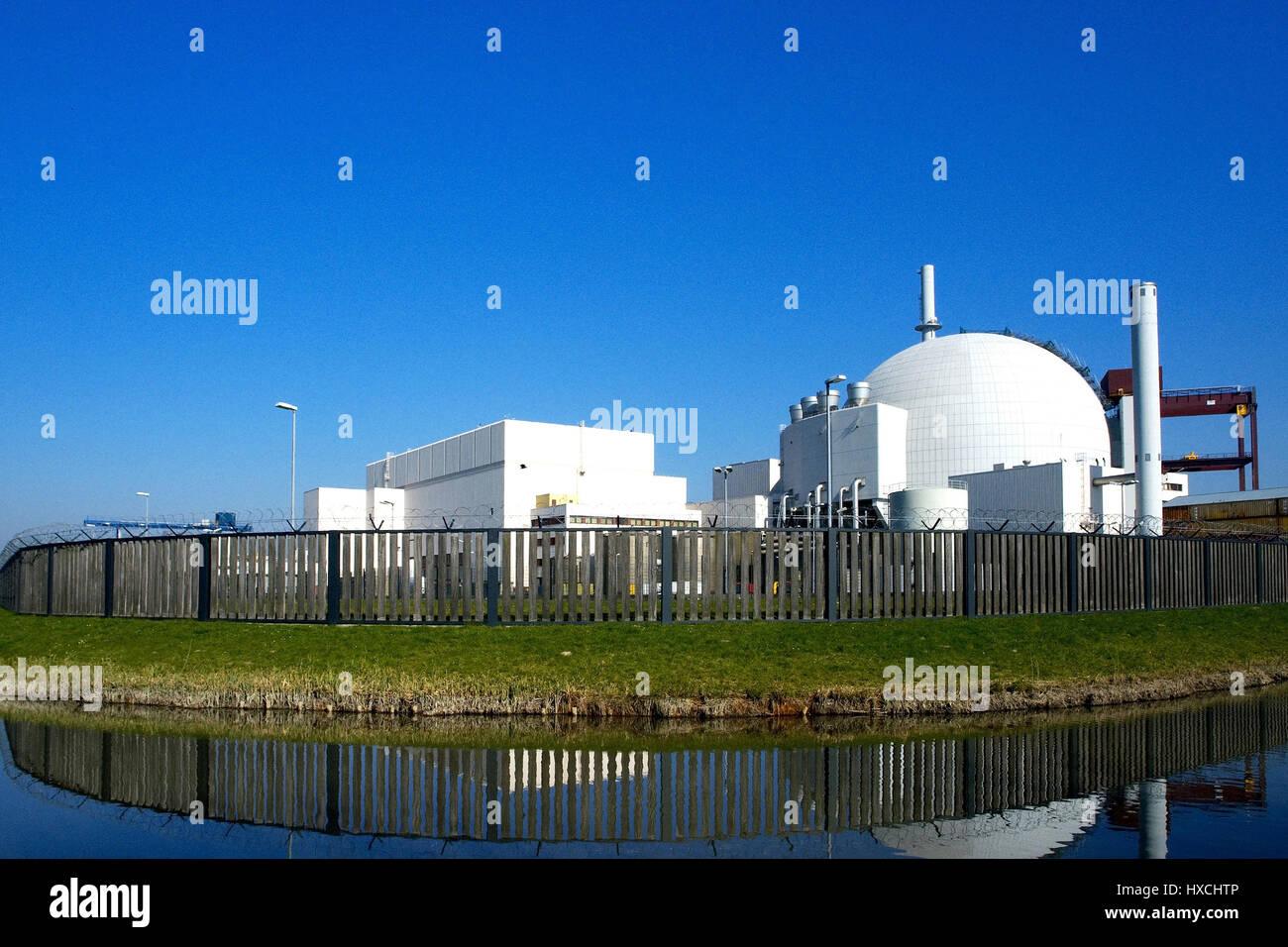 Nuclear power plant village Brok, Kernkraftwerk Brokdorf - Stock Image