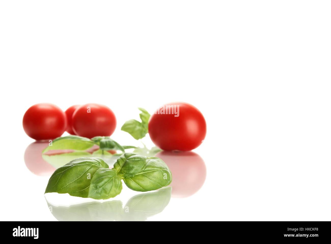 Tomatoes and basil, Tomaten und Basilikum Stock Photo