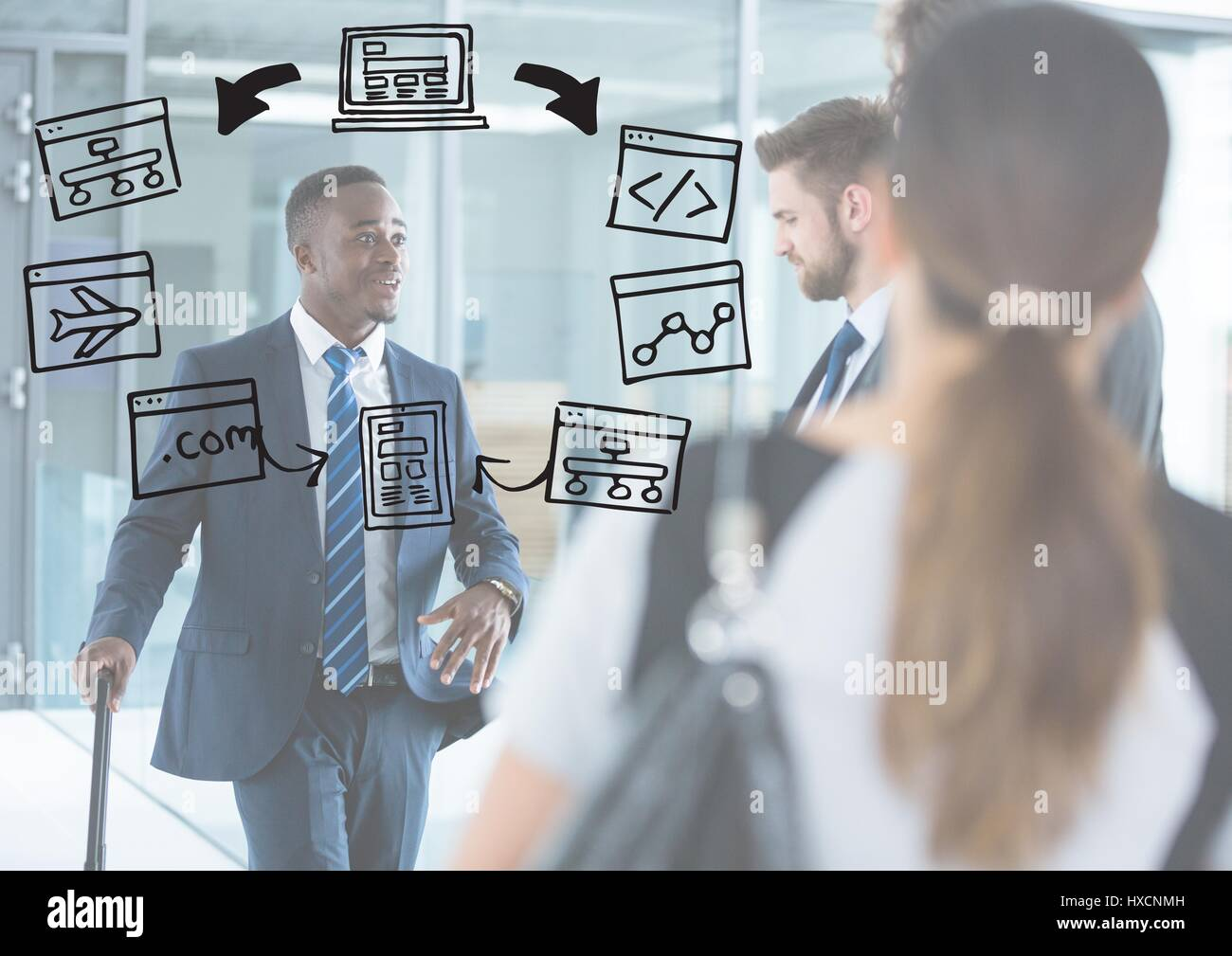 Digital composite of Business people with white overlay and business doodles Stock Photo