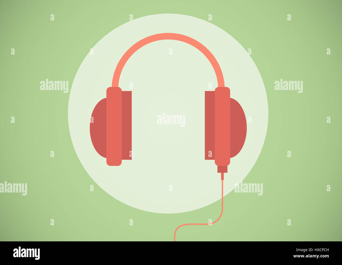 Digital composite of Red headphone illustration icon in cirlce against green background - Stock Image
