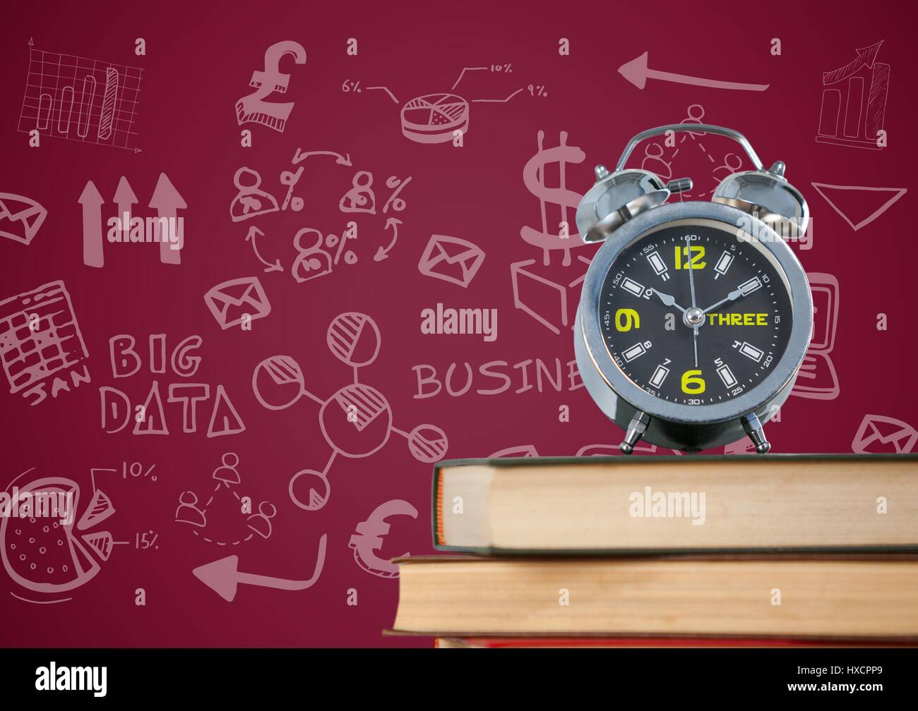 Digital composite of Pile of books with clock and white business doodles against maroon background - Stock Image