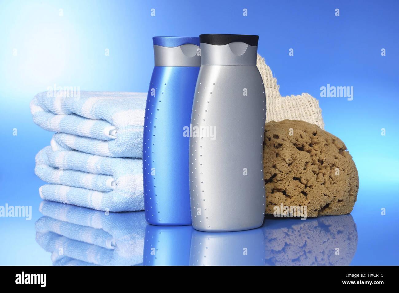 Shower gel with towel and sponge, Duschgel mit Handtuch und Schwamm Stock Photo