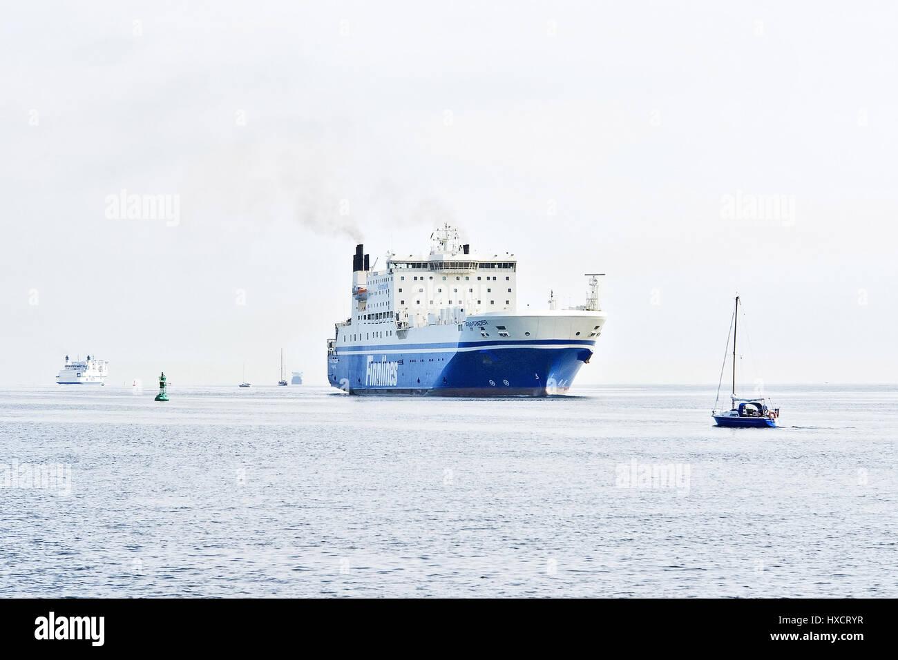 Ferry of the Finnlines in the L?beck bay before Travem?nde, Faehre der Finnlines in der Luebecker Bucht vor Travemuende - Stock Image