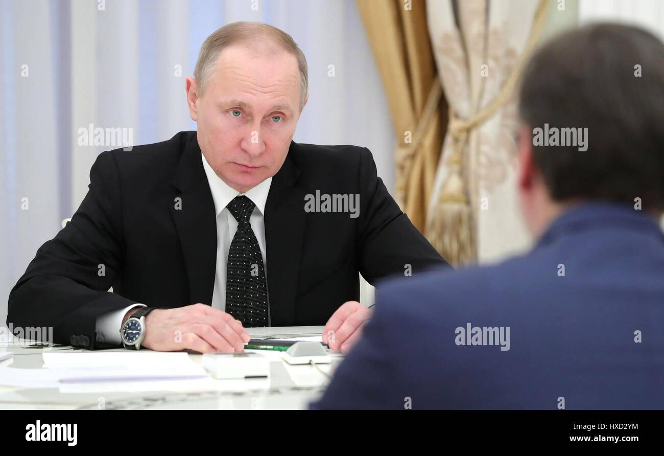 Moscow, Russia. 27th Mar, 2017. Russian President Vladimir Putin during a bilateral meeting with Serbian Prime Minister - Stock Image