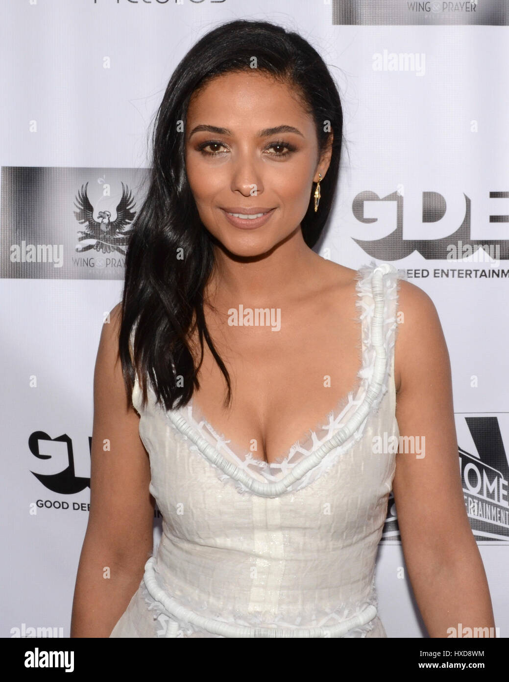 Meta Golding attends a screening of Good Deed Entertainment's 'All Nighter' at the Leammle Fine Art - Stock Image
