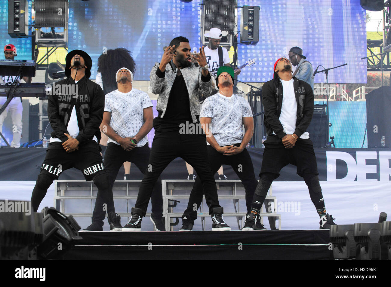 Singer Jason Derulo performs live concert at the 2015 KIIS FM Wango Tango at the StubHub Center on May 9th, 2015 - Stock Image