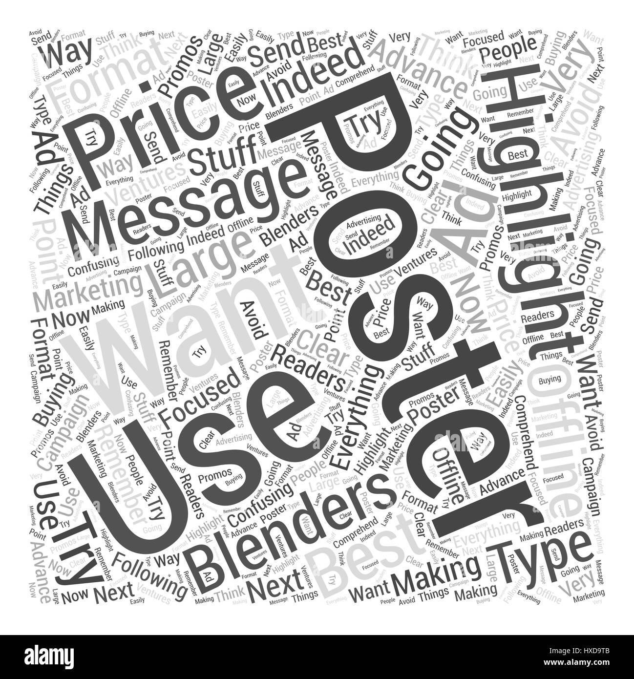 how to use the message best price on blenders on posters word cloud