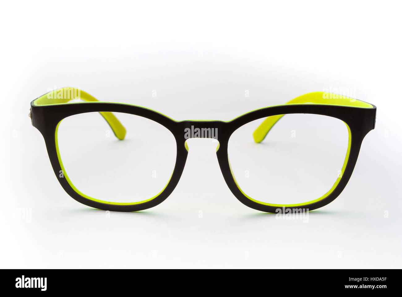 Nerd Black and Yellow Frame Glasses without Lens, Isolated - Stock Image
