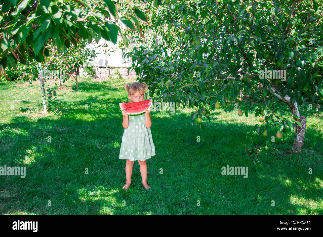 ccd15852b5c7 Little girl in green dress, barefoot standing in the park with big slice  watermelon. Summer. Outdoor
