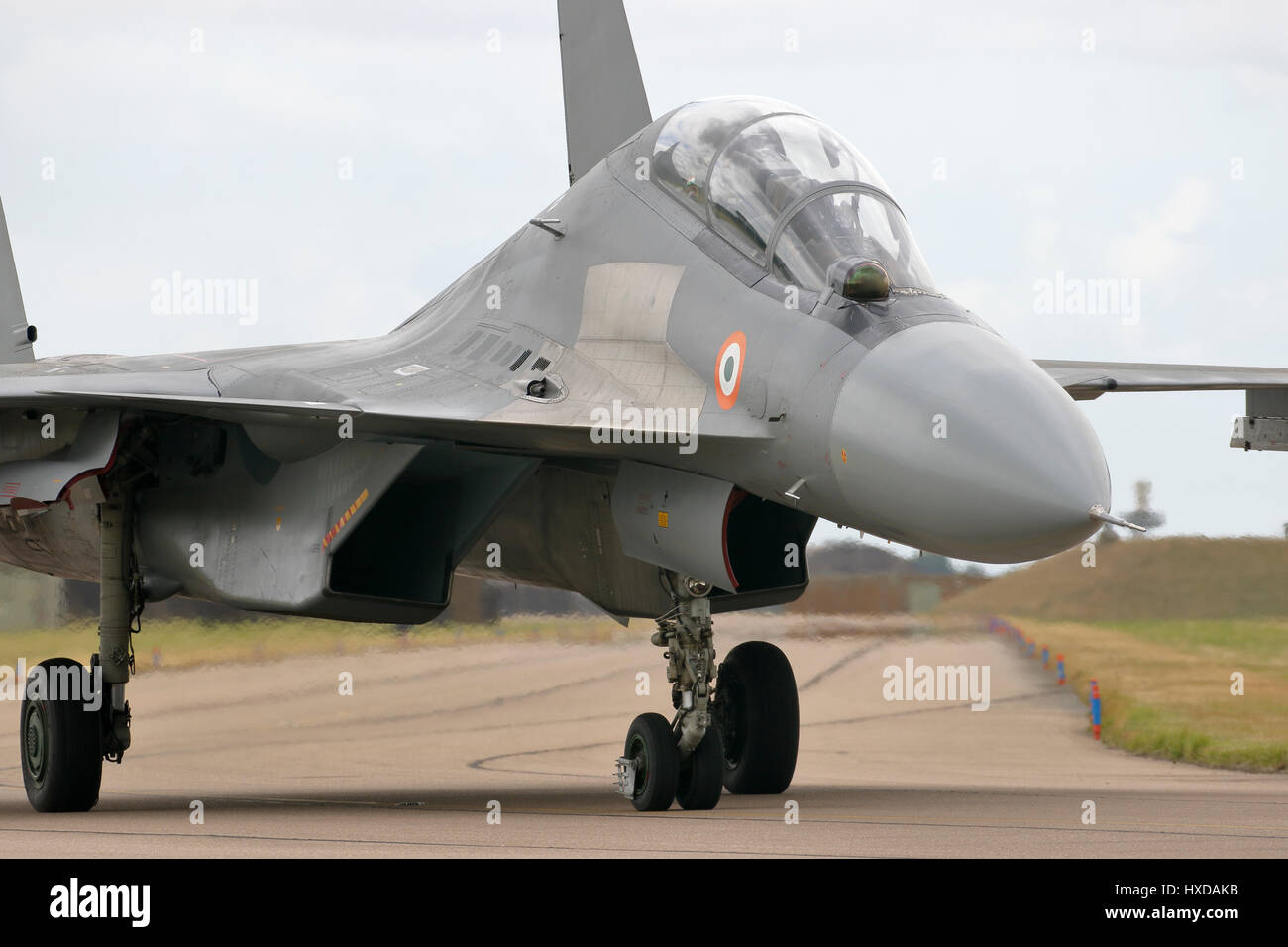 Soviet built Sukhoi Su-30MKI advanced multi-role fighters of the Indian Air Force at RAF Coningsby, Lincolnshire - Stock Image