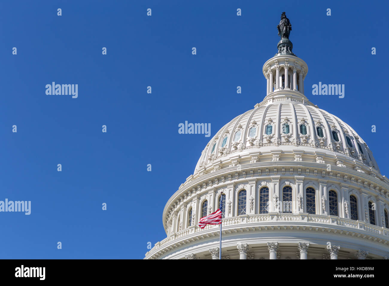 An offset view of the dome of the U.S. Capitol Building in Washington, DC. Stock Photo
