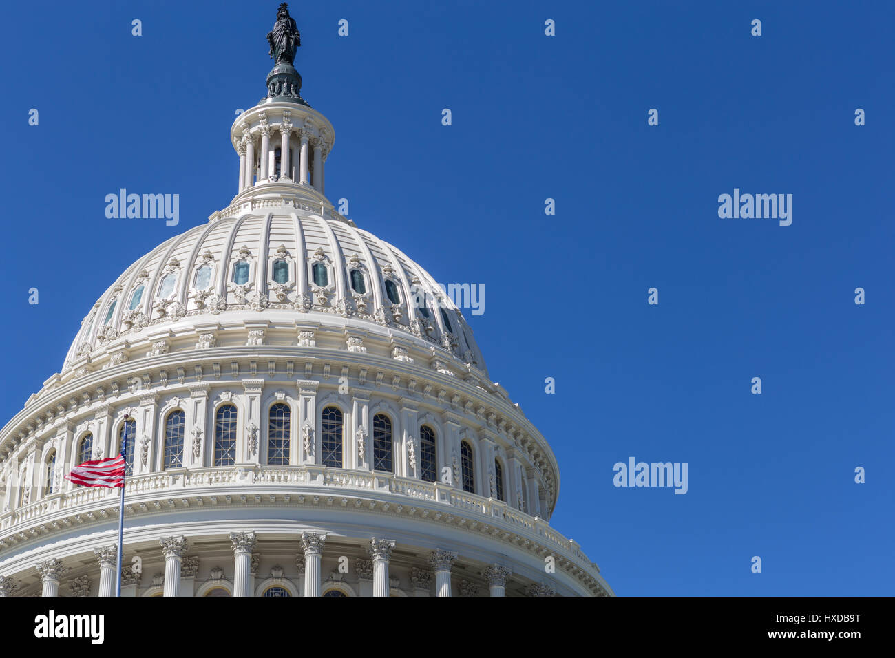 An offset view of the dome of the U.S. Capitol Building in Washington, DC. - Stock Image