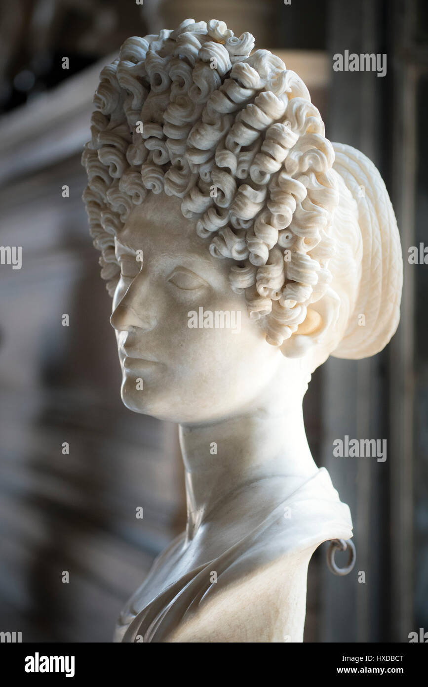 Rome. Italy. Marble portrait bust of a young flavian woman aka the 'Fonseca Bust', possibly Vibia Matidia - Stock Image
