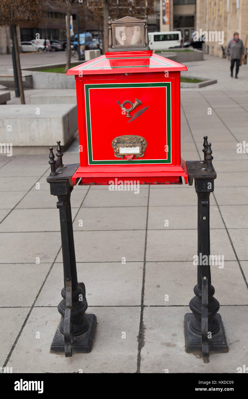 Traditional post box  in Budapest Hungary Stock Photo