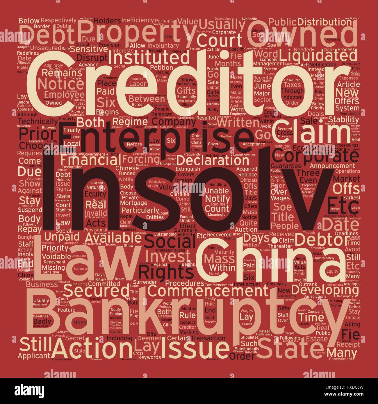 Insolvency And Corparate Bankruptcy In China text background wordcloud concept - Stock Vector