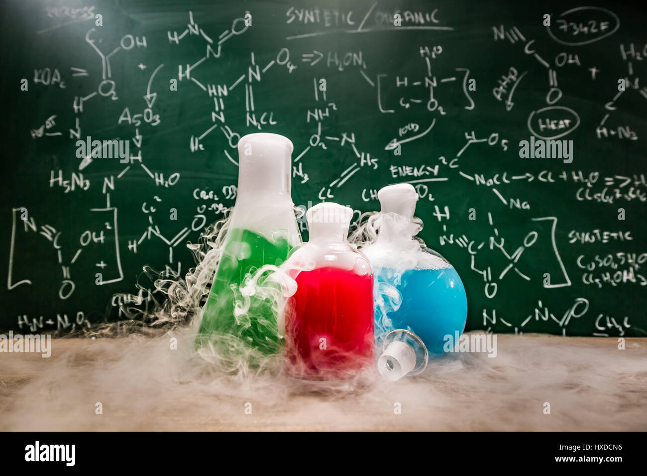 University laboratory with beakers and books Stock Photo