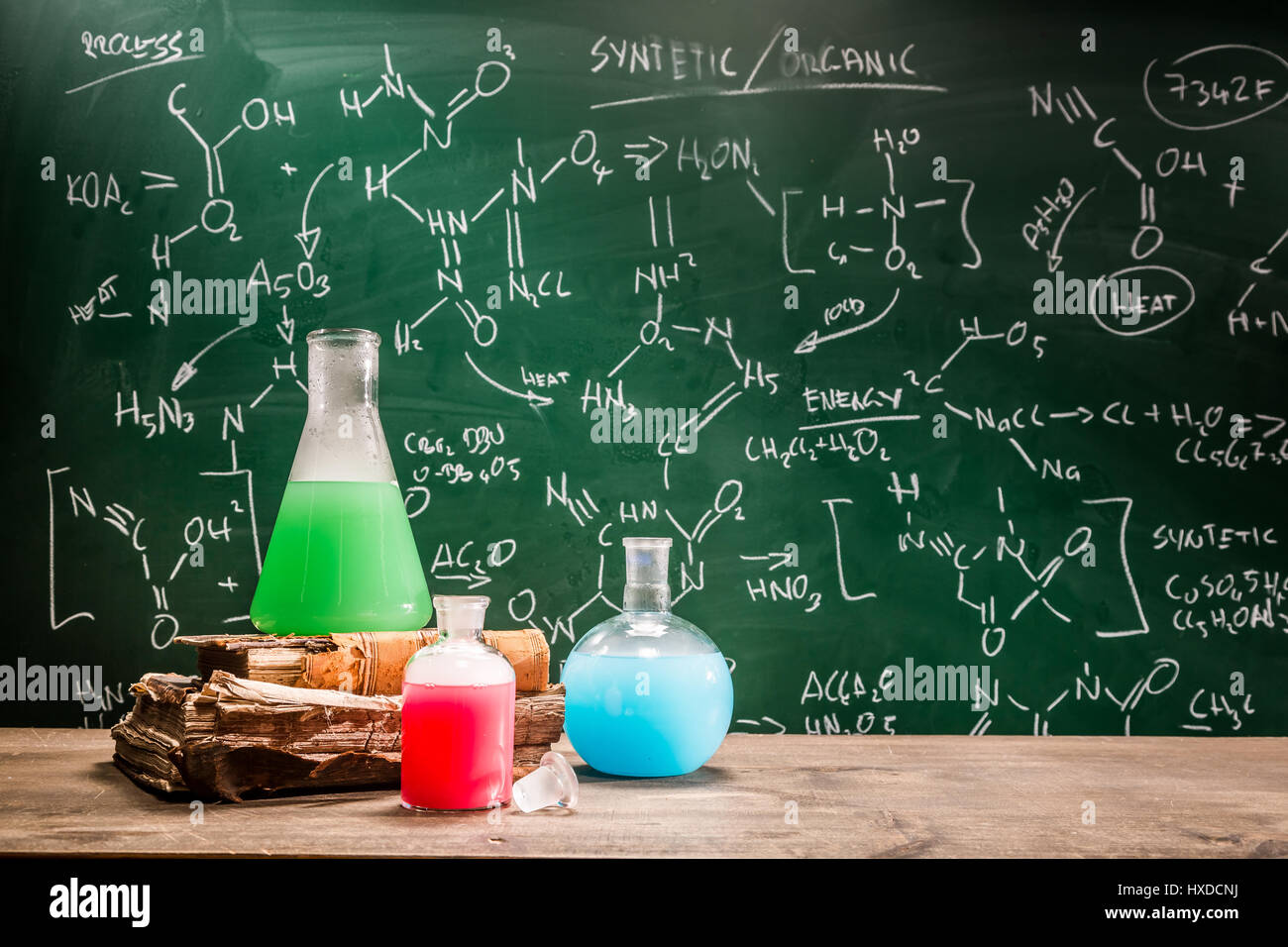 School laboratory with books and beakers Stock Photo