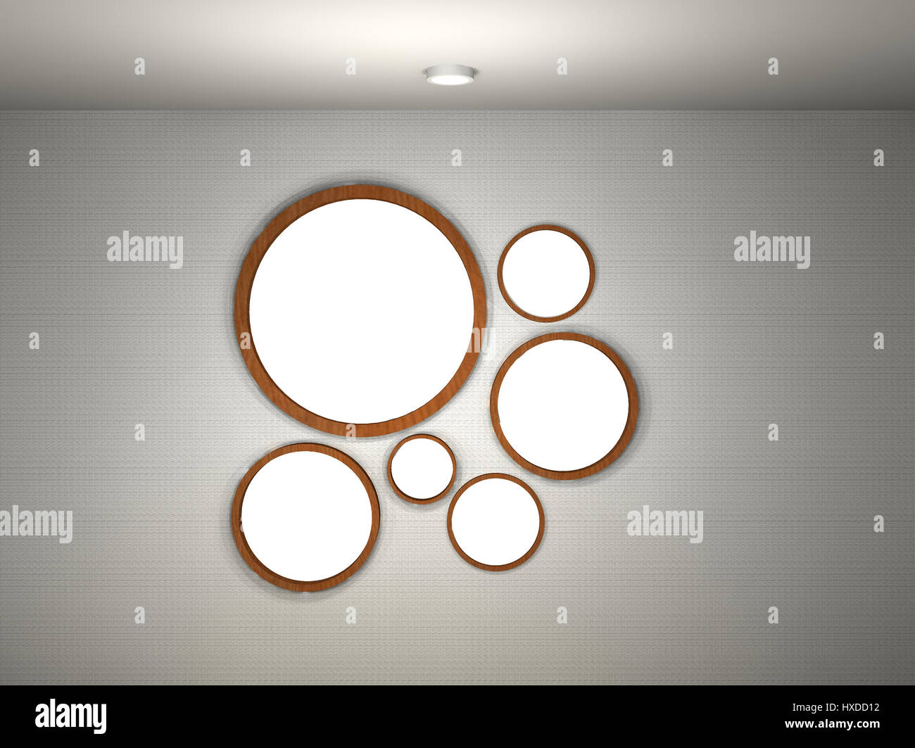 multiple empty picture frames. 3d Illustration Of Empty Gallery With Multiple Round Frames Picture