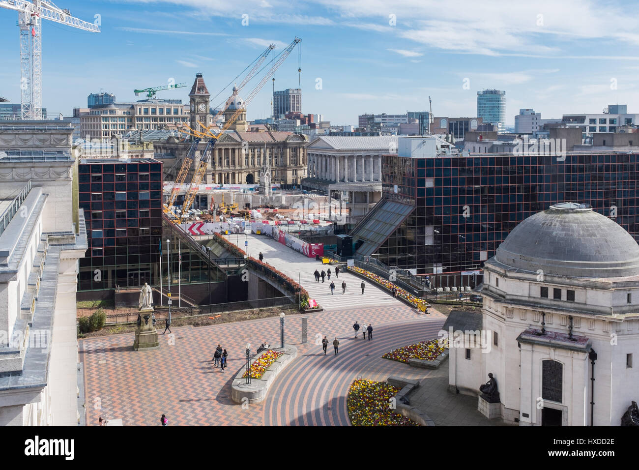 View of construction work on the site of the old Birmingham Central Library at Paradise circus - Stock Image