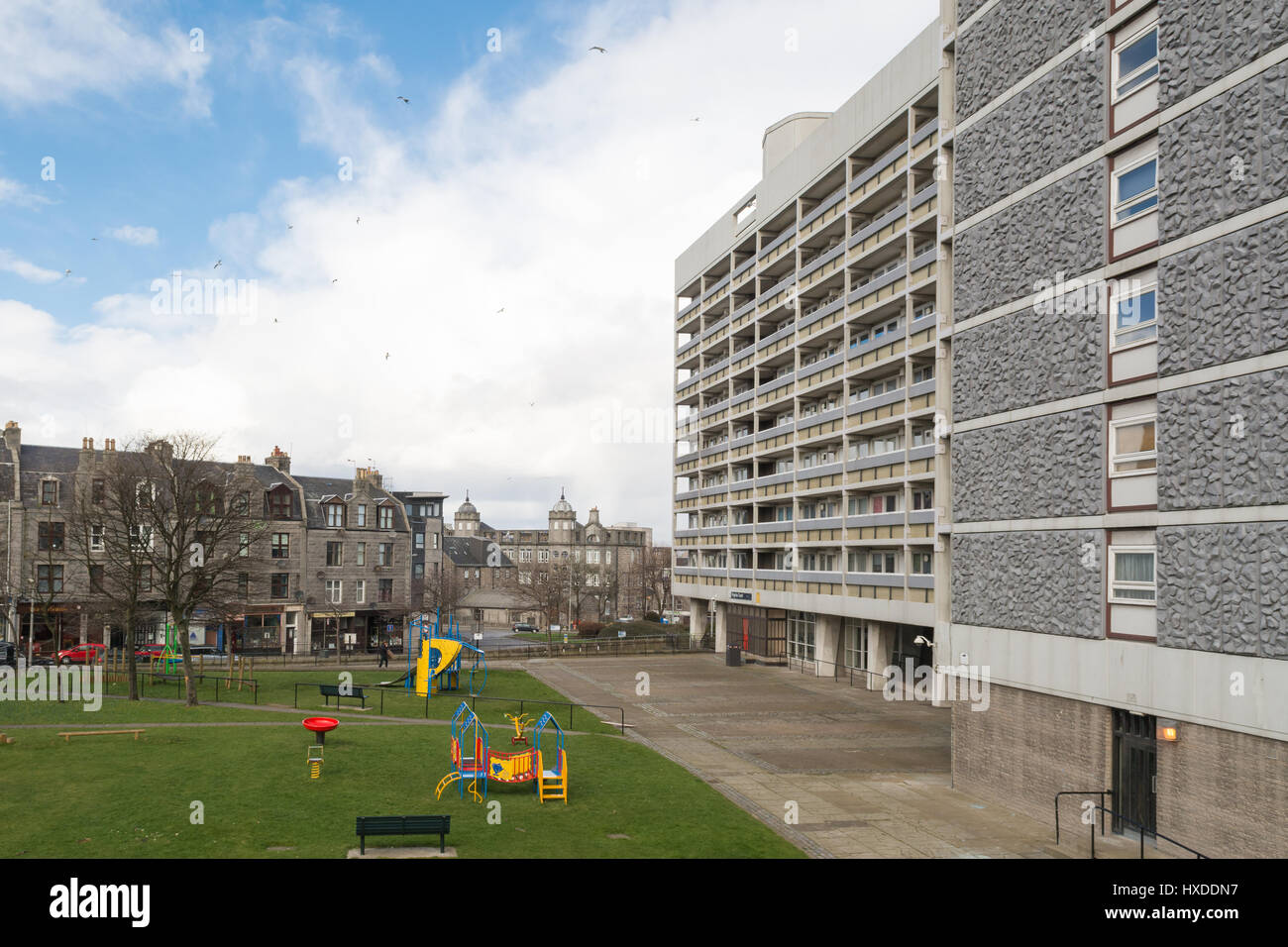 Aberdeen Council high rise multi storey flats buildings play area Virginia Court, Aberdeen, Scotland, UK - Stock Image
