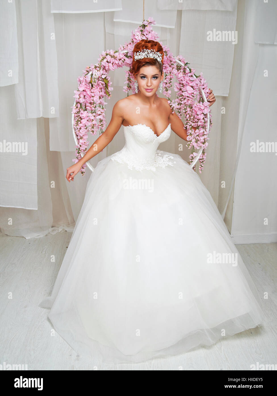 Wedding Dress And Red Hair High Resolution Stock Photography and