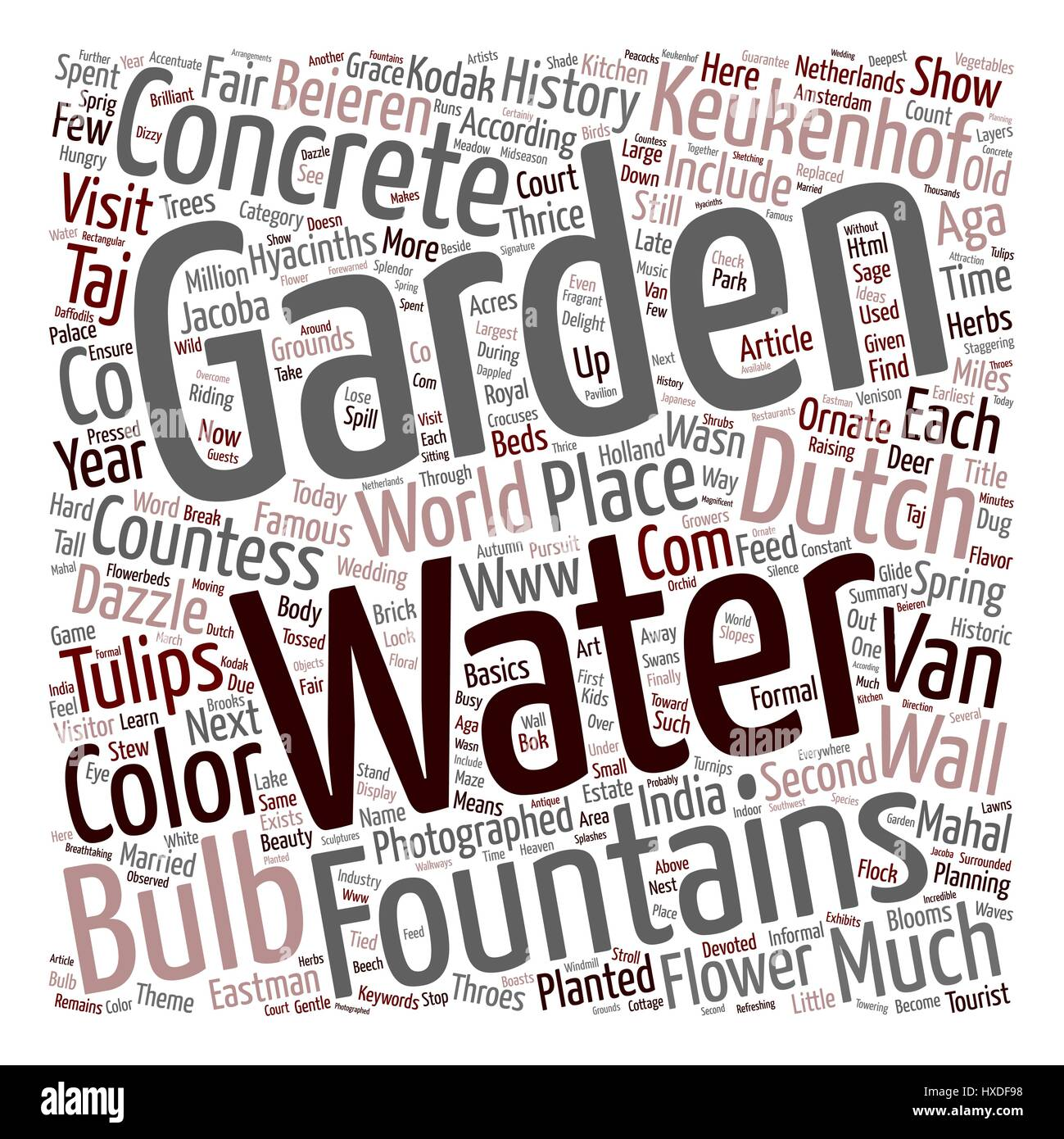 Keukenhof Gardens Dazzle With Bulbs And Concrete Water Fountains text background wordcloud concept - Stock Vector