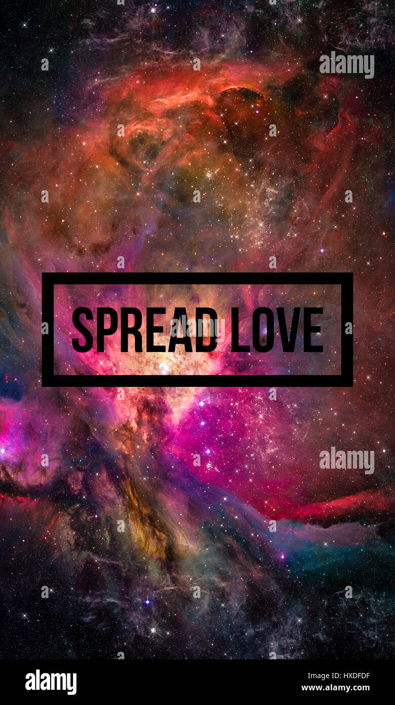 Spread Love Motivational Quote On Night Starry Sky Background Stock