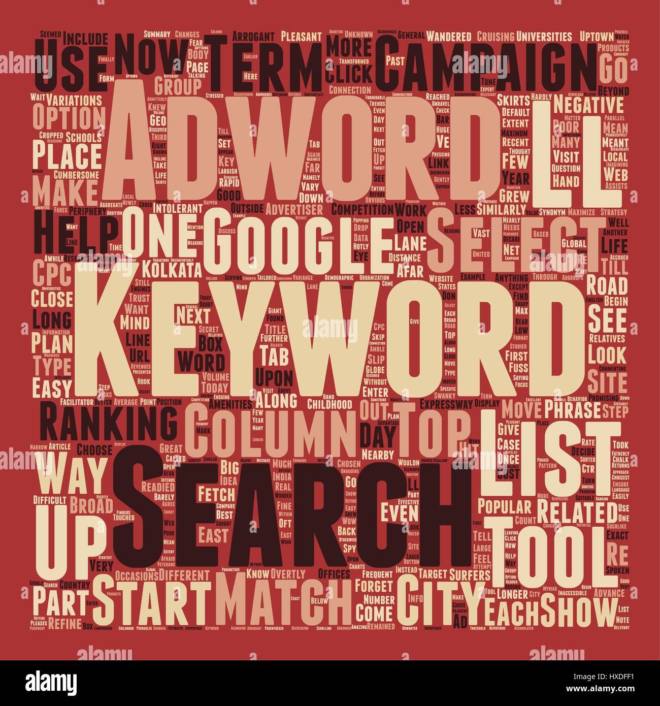 Keywords Trust Adwords text background wordcloud concept - Stock Vector