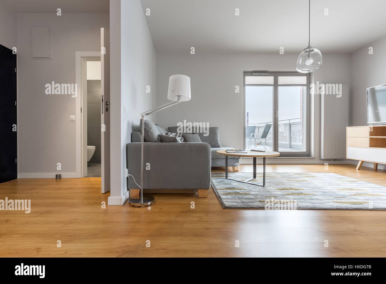 Modern living room with big hallway and bathroom doors open - Stock Image