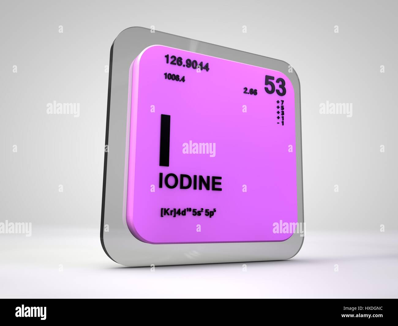 Iodine I Chemical Element Periodic Table 3d Render Stock Photo