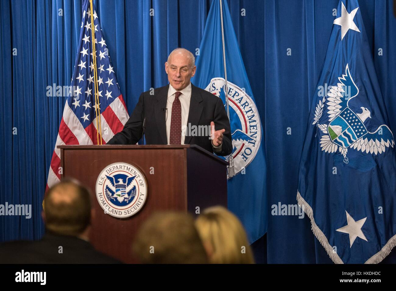 U.S. Secretary of Homeland Security John Kelly speaks to employees during a Town Hall meeting at Immigration and - Stock Image