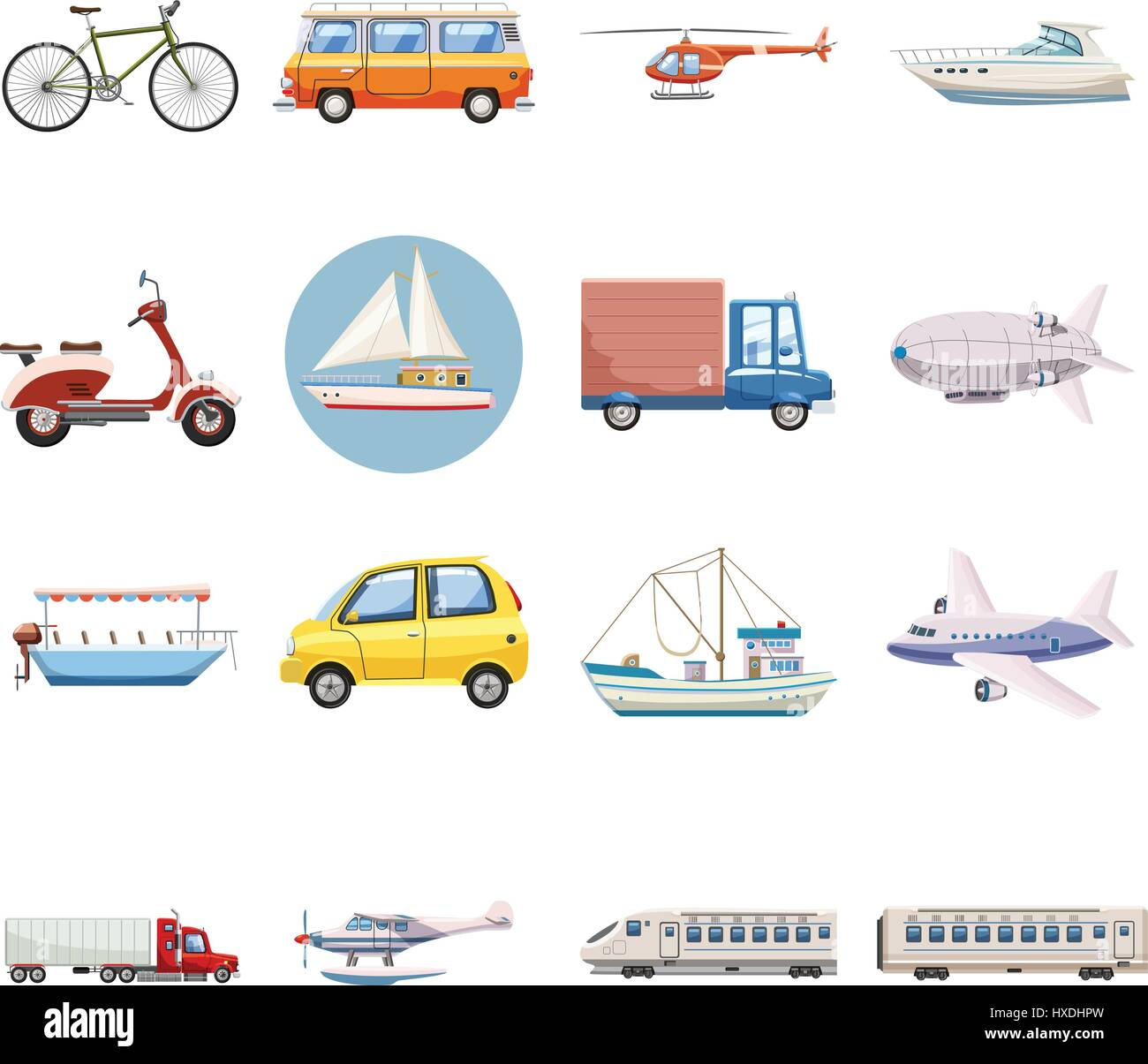 Transportation icons set, cartoon style - Stock Vector