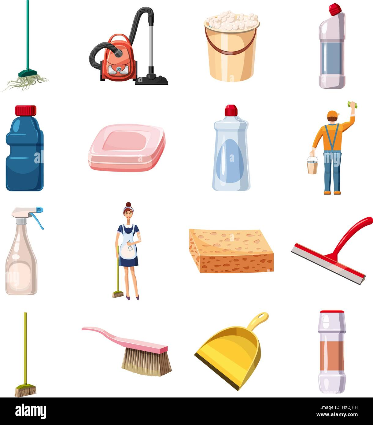 Cleaning icons set detergents, cartoon style - Stock Vector