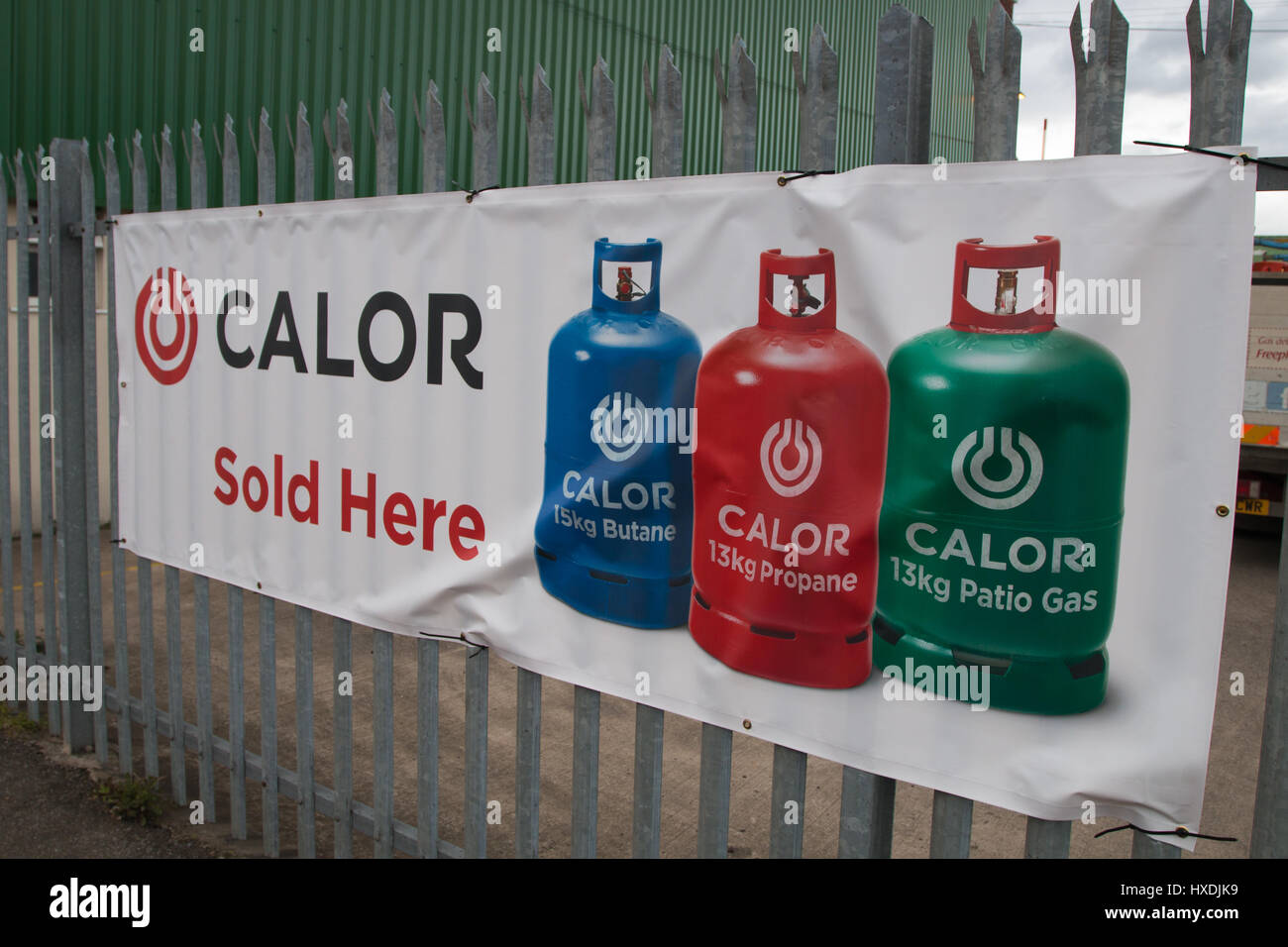 CALOR GAS: An advertising sign stating 'CALOR Sold Here' - Stock Image