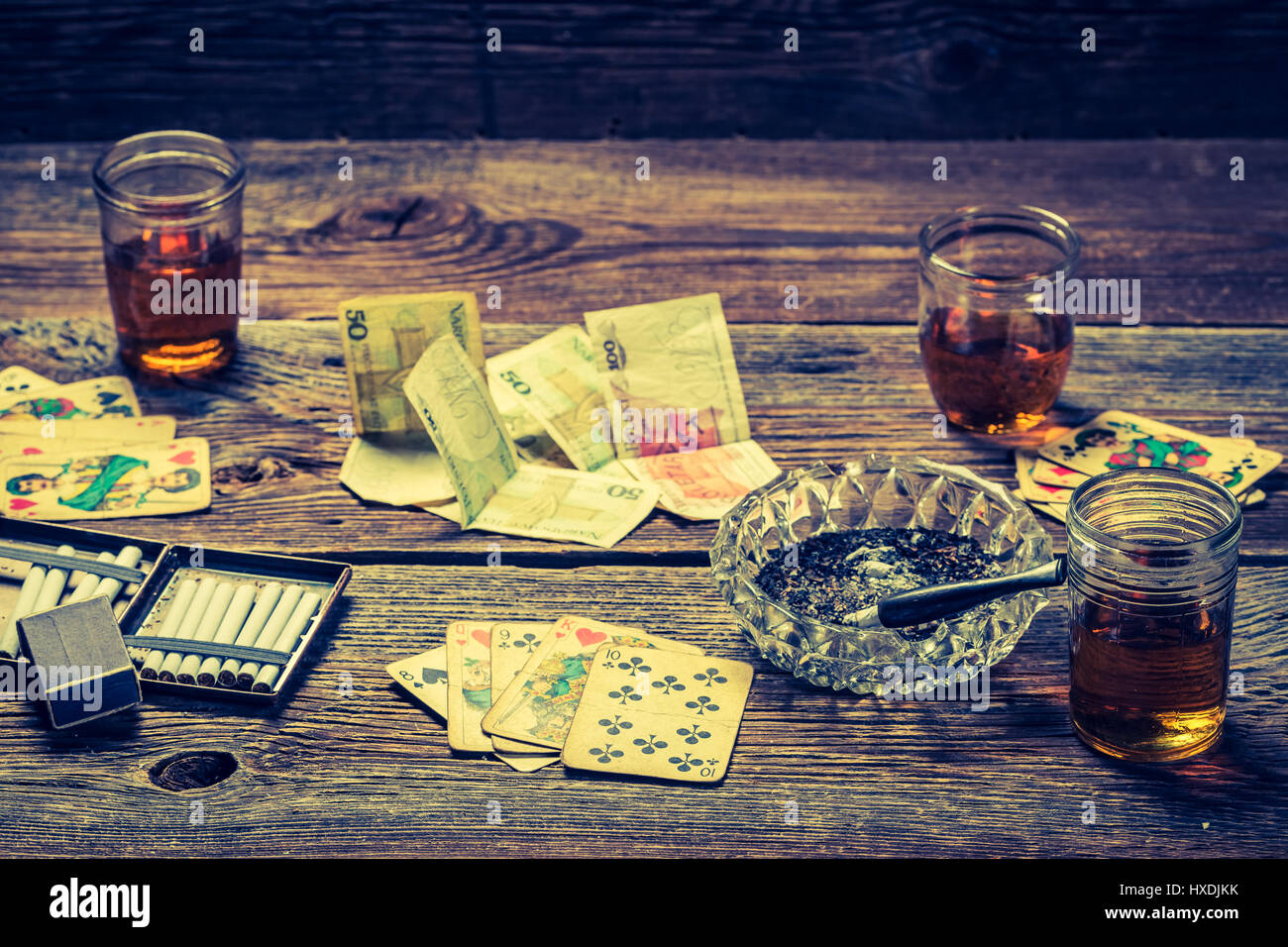 Old Table Illegal Poker Vodka High Resolution Stock Photography And Images Alamy