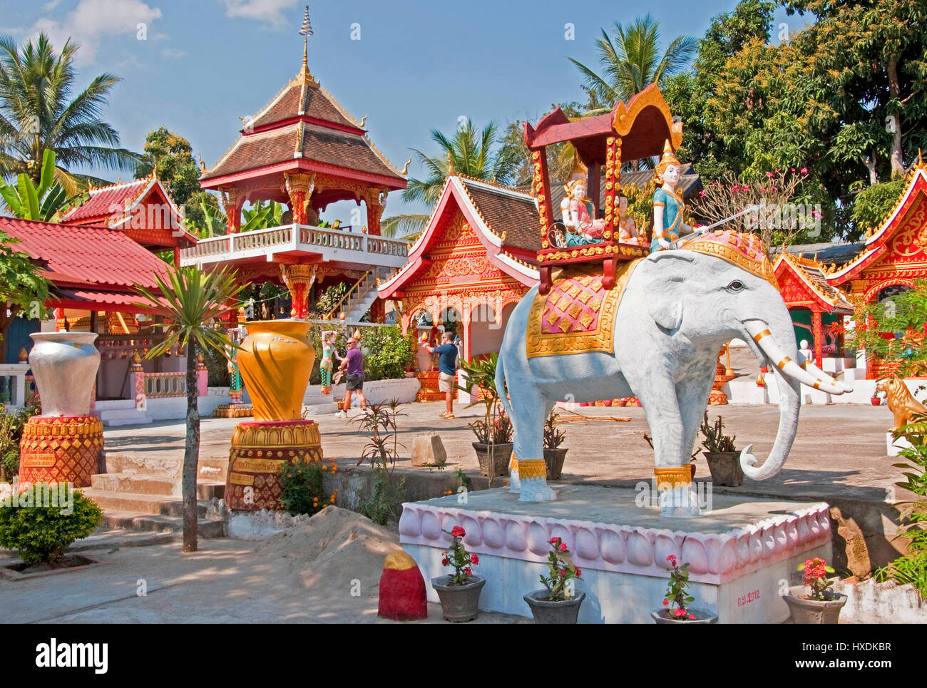 Buddhist temple in Ban Xiang Hai whiskey village near Luang Prabang. - Stock Image